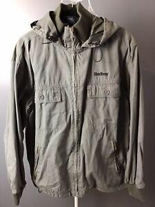 BAD BOY S Mens Coat Jacket Olive Green Hood Full Zip Pockets Outdoor Casual