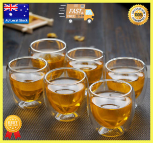 Pack of 6 Japanese Style Small Double Wall Glass Cup Tea Cup Coffee Cup 80ml