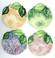 Vintage Set of 4 Hydrangea Plates Isabelle de Borchgrave Italy 12151 Majolica