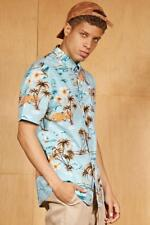 NWT FOREVER 21 Artistry In Motion Lt. Blue Tropical Print Button-Front Shirt ~ L