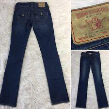 True Religion Billy Jeans Women's SIZE 24 Flap Pockets Stretch DARK WASH Denim