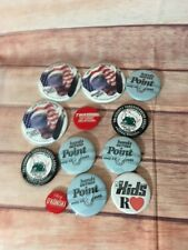 VINTAGE LOT OF 12 VARIOUS BUTTONS BADGES PINS