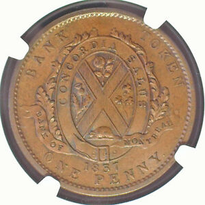 CANADA / 1837 BANK OF MONTREAL ONE PENNY (DEUX SOUS) LC-9D3 NGC MS 63+ BN SCARCE