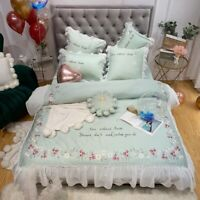 Egyptian Cotton Embroidery Bedding Sets  Duvet Cover Sets Bed Sheet 4pcs Lace