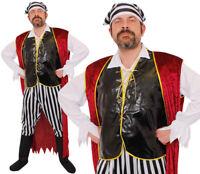 MENS PIRATE COSTUME ADULT FANCY DRESS CARIBBEAN BUCCANEER OUTFIT L XL 2XL