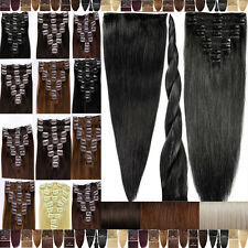 Professional Store Clip On Remy Human Hair Extensions Full Head In US Stock F715