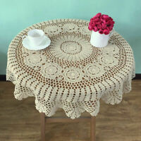 """33"""" Round Hand Crochet Tablecloth Vintage Lace Table Cloth Topper Floral Doily"""