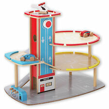 Chad Valley Wooden Parking Garage Playset 2 Cars & Helicopter Toy Vehicle Kids