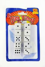 NEW Set of 10 Six Sided Square 16mm Dice White with Black Dots Pip Die Sealed