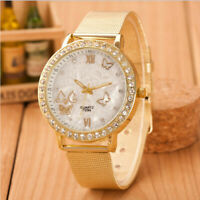 Women Luxury Ladies Crystal Butterfly Gold Stainless Steel Mesh Band Wrist Watch