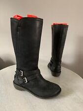 UGG Rosen Black Leather Shearling Lined Zip Buckled Strap Boots Sz 8 1005450