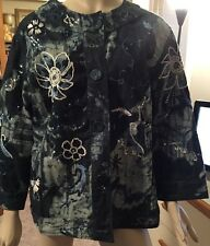 CHICO'S DENIM JACKET SEQUINS EMBROIDERY BEADS SIZE 3