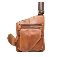 Men's Genuine Leather Chest Bags Sling Shoulder Sport Bag Cross-body Waist Pack