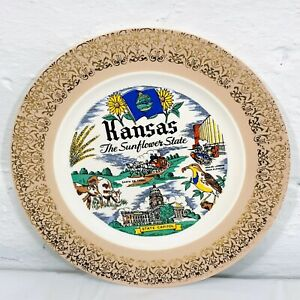 "Vintage Cavalier Kansas The Sunflower State Collectible Souvenir Plate 10"" Wide"