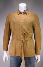 * MR. GUY * Vintage Made in England Light Brown Suede Leather Belted Coat 36/S