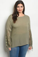 Womens Plus Size Sage Green Tunic Top Lace Accent 2XL New