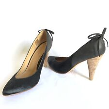 Ulla Johnson Clara Black Ponyhair Leather Pointed Toe Pump Stacked Heel Bow Sz10