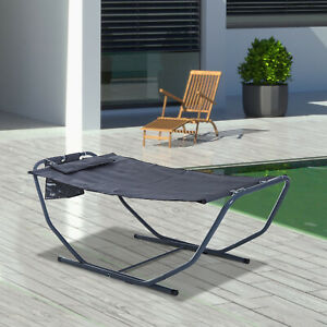 Garden Hammock Sun Lounger Bed Stand with Pillow Steel Grey Patio Outdoor