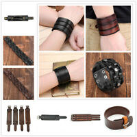 Unisex Wide Leather Bracelet Watch Buckle Metal Wristband Bangle Black Brown US