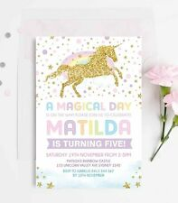 Unicorn Invitation Rainbow Birthday Party Invite Gold Confetti Twinkle Stars