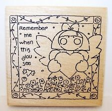 NEW Vintage JRL Design Wood Rubber Stamp REMEMBER ME QUICK CARD Clean Never Used