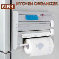 6 IN 1 Wrap Tin Foil Cutter Organizer Kitchen Storage Rack Paper Roll Holder