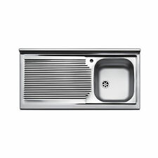 Lavello appoggio acciaio inox cucina 100 cm lavandino con gocciolatoio sinistra
