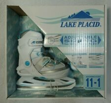Lake Placid Girl's Size 11-1 Ages 5-8 Adjustable Figure Ice Skate White Teal New