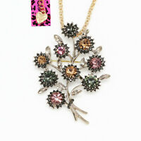 Betsey Johnson Jewelry Crystal Flower Leaf Pendant Chain Necklace/Brooch Pin