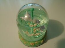 Mini Carousel Horse Merry Go Round Snow Globe good condition clean. green
