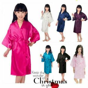 Beautiful little girl silk satin kimono robe bathrobe pajamas wedding flower gir