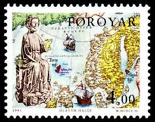 Faroe Islands 1995 Saint Olaf, Map, Christianity, UNM /MNH