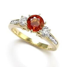 18k Yellow Gold Diamond Orange Sapphire Engagement Ring #R1677