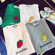 Women Summer Basic T-shirt Cute Fruit Print Short Sleeve Tee Blouse Tops SE