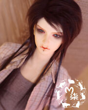 "7-8"" 18-19cm BJD doll fabric fur wig Black Extended hair for 1/4 bjd dolls"