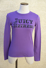 Juicy Couture JUICY HEIRESS Grape Purple Long Sleeve 100% Cotton Knit T-Shirt  S