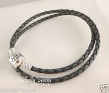 "NEW Authentic PANDORA Grey GRAY Leather/Silver Charm DOUBLE BRACELET 13.8""~35"