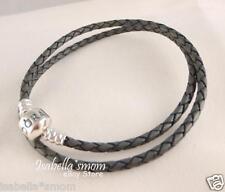 "NEW Authentic PANDORA Grey GRAY Leather/Silver Charm DOUBLE BRACELET 13.8""~35"