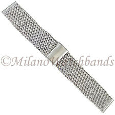22mm Milano Stainless Steel Thick Heavy Mesh W/ Fold Clasp Mens Watch Band ME812