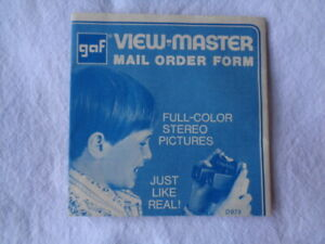 GAF VIEW MASTER Mail Order Form with Listings Of All Reel Packets D873