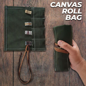 Canvas Travel 4 Pocket Green Watch Roll, Canvas Storage Watch Roll, Gift for Him