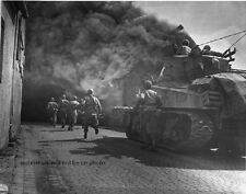 """U.S. Soldiers and a Sherman Tank during battle in Germany 8""""x 10"""" WWII Photo 350"""