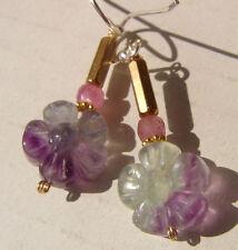 CeS Ohrringe pink / rosa Saphir / Safir Regenbogen Fluorit geschnitzte Blume
