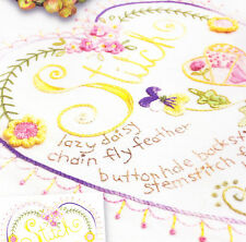 PATTERN -  'Stitch' Heart Sampler - pretty stitchery PATTERN - Crabapple Hill