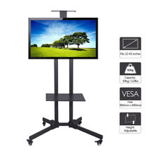 """Steel TV Floor Display Stand Trolley on wheels With 1 Tier Shelf For 32""""- 65"""" TV"""