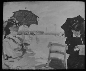 ANTIQUE Magic Lantern Slide MONET THE BEACH AT TROUVILLE C1910 PHOTO OF PAINTING