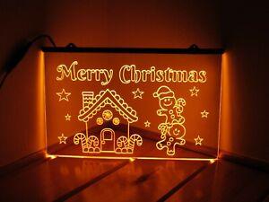 Merry Christmas Gingerbread Men - Acrylic LED Neon Light Sign - Gold - Xmas