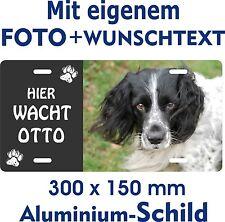 Hunde Warn Schild eigenes Foto Text jede Rasse Beispiel English Springer Spaniel