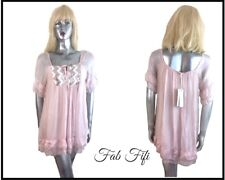 J&L Paris Blush Pink 100% Silk Embellished Sequinned Babydoll Blouse  Italy 12