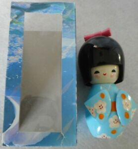 Vintage Wooden Blue Kokeshi Doll (135mm high)